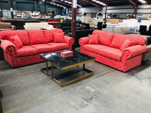 3 + 2.5 SEATER FLORAL FABRIC LOUNGE SUITE - FACTORY SECOND