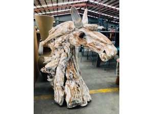 WHITE WASH TIMBER DRIFTWOOD DECORATIVE HORSE HEAD - 85X45X110CM
