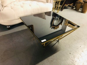 KINSINGTON COFFEE TABLE WITH GOLDEN FRAME + BLACK GLASS