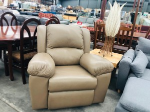LIGHT BROWN LEATHER RECLINER - AUSTRALIAN MADE