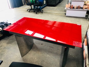 RED GLASS TOP DESK WITH CHROME SIDES NEW IN BOX