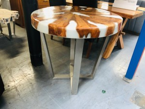 TEAK TIMBER TABLE WITH STAINLESS LEGS - WHITE RESIN - 85X85X75CM