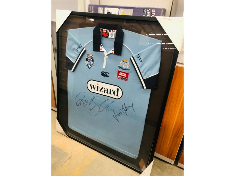 2006 BLUES STATE OF ORIGIN NSW JERSEY FRAME (SIGNED BY LAURIE DALEY & PAUL GALLEN)