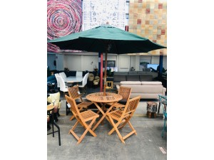 RELAXA 5 PCE BREAKFAST SET - TABLE + 4 CHAIRS (N) (2 BOXES/SET) (UMBRELLA SOLD SEPARATELY)