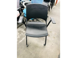 BLACK POLYCARBONATE CHAIR WITH FOLDING SEAT AND CASTORS - STEEL FRAME