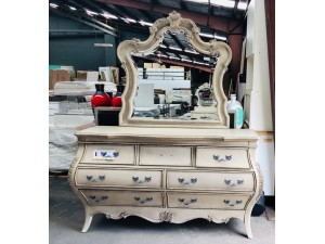 LOUISA DRESSER & MIRROR IN ANTIQUE WHITE (RRP $2200)