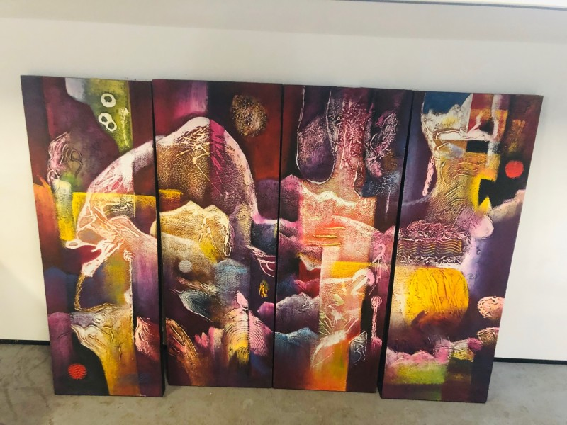 ASSORTED 4 PANEL OIL PAINTINGS (4 PAINTINGS MAKE UP 1 PICTURE)
