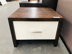 LAMP TABLE DARK TIMBER WITH WHITE DRAWER