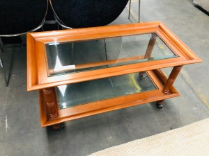 BROWN GLASS TOP COFFEE TABLE