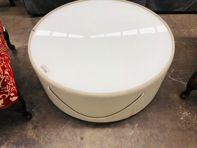 ROUND FROSTED GLASS TOP COFFEE TABLE WITH HANDLES