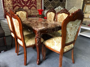 7 PIECE ORNATE DINING SUITE WITH MARBLE TABLE