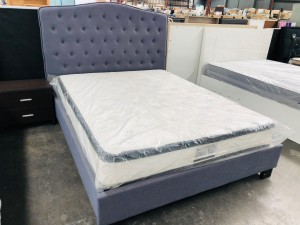 QUEEN BED - BI1806 CHARCOAL GREY FABRIC - PADDED BEADHEAD (2 BOXES/BED)