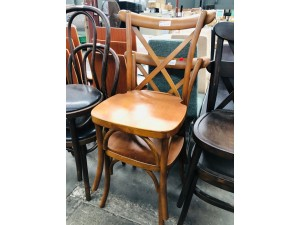 CROSS BACK WOODEN DINING CHAIR - LIGHT BROWN SOLD AS PAIR