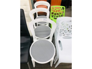 WHITE CAFE CHAIR WITH FABRIC SEAT & PLASTIC LEGS #157-EPP-W