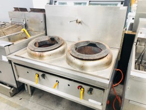 GAS 2 BURNER WOK COOKER WITH SPLASHBACK & TAP (REMOVED WORKING) 2ND HAND - SOLD AS IS