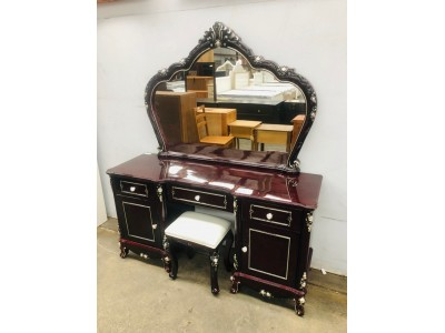 VERRA WALNUT DRESSING TABLE WITH STOOL (T12) FACTORY SECOND - BOTH ON FLOOR