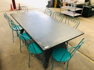 INDUSTRIAL STYLE METAL LOOK DINING TABLE