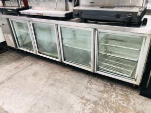 4 GLASS DOOR BENCHTOP FRIDGE S/S TOP 2803 X 650 X 900 (USED - SOLD AS IS)
