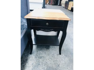 BLACK ONE DRAWER,ONE SHELF SIDE TABLE