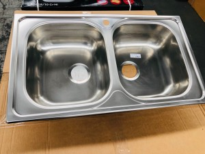 AS90 DOUBLE BOWL KITCHEN SINK 50X86CM