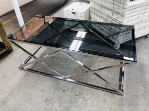 LEXINGTON LAMP TABLE - GREY GLASS WITH SILVER LEG