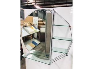 PLASTIC & GLASS BATHROOM SHELF + MIRROR (2 BOXES A SET) #GD130