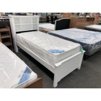 ASHFORD WHITE SINGLE BED WITH SHELVES