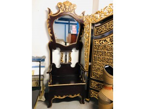 JAVA LARGE ORNATE TIMBER CHAIR WITH MIRROR