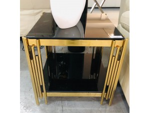 BROOKLYN LAMP TABLE - BLACK GLASS WITH GOLD LEG