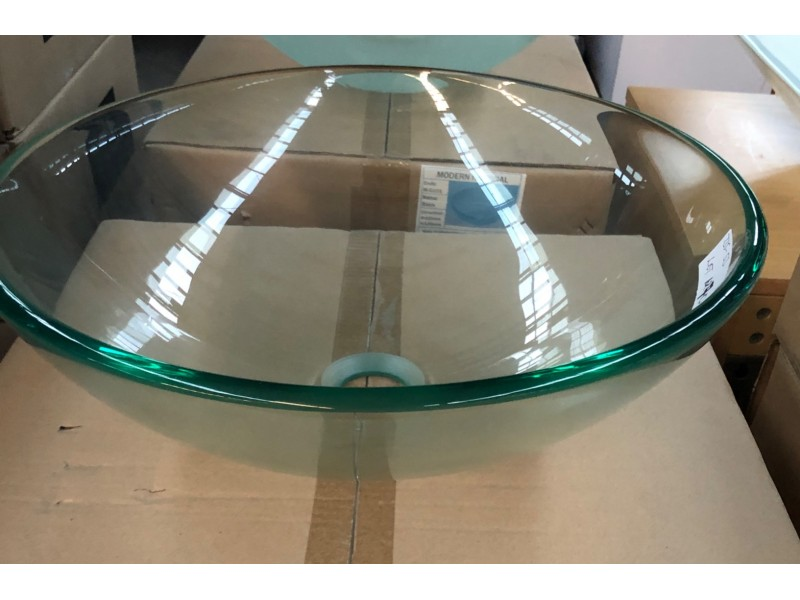 BASIN - ABOVE COUNTER CLEAR GLASS BASIN 420X420X145MM #M-G104 12MM THICK