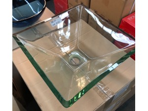 BASIN - SQUARE ABOVE COUNTER CLEAR GLASS BASIN 420X420MM #M-G201 12MM THICK