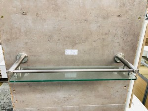 GLASS TOP STAINLESS STEEL BATHROOM SHELF 550X160X50 (BI-2391)