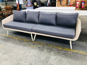 ROPE WICKER 4 SEATER LOUNGE WITH GREY CUSHIONS