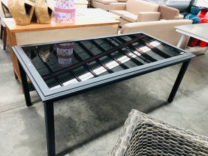 SHELTA AUSTRALIA IONIAN DELUX BLACK GLASS OUTDOOR TABLE 1800X900