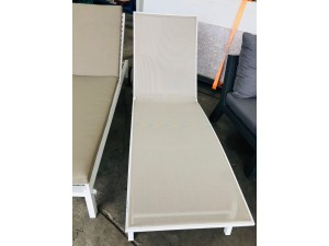 OUTDOOR SUN LOUNGE WITH ADJUSTABLE BACK WHITE/BEIGE