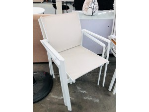 SHELTA AUSTRALIA SET OF 2 WHITE METAL OUTDOOR CHAIRS BEIGE WITH MESH BACK