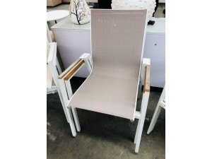 SHELTA AUSTRALIA SET OF 2 OUTDOOR MESH BACK CHAIRS WHITE/BROWN