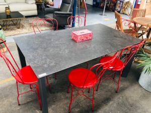 BLACK/GREY GLASS TOP OUTDOOR DINING TABLE 1650 X 950