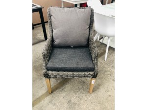 OUTDOOR ROPE WICKER CHAIR & GREY CUSHION