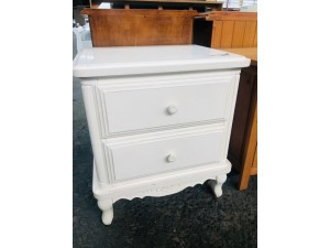 AMORE TWO DRAWER BEDSIDE CHEST - WHITE