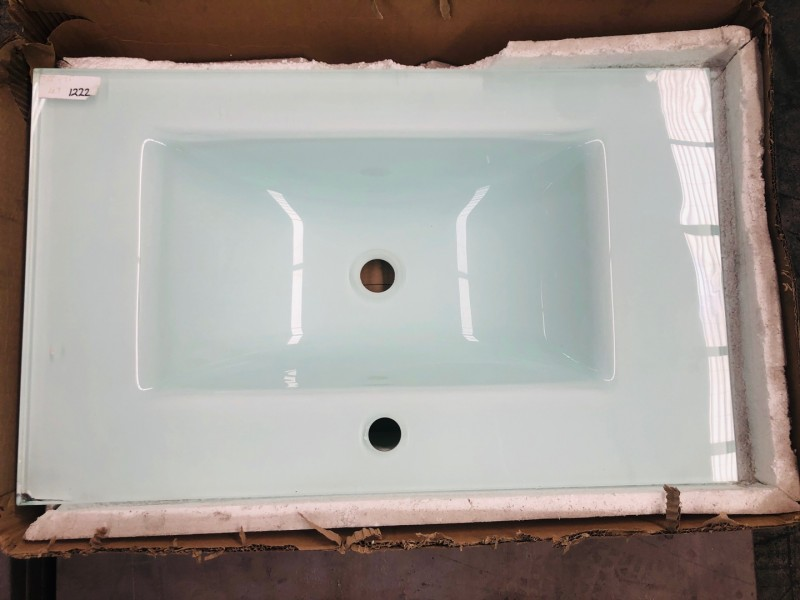 750MM TOP - WHITE GLASS VANITY BASIN SINGLE BOWL #M-G301 450WX15MM THICK