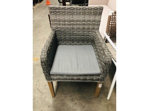 GREY ROPE WICKER CHAIR WITH TIMBER LEGS