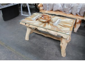 TEAK ROOT TABLE - NATURAL - 125X80X65CM - SOLD AS IS