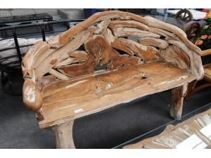TEAK ROOT BENCH - NATURAL - 165X65X105CM - SOLD AS IS