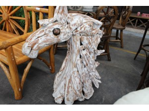 WHITE WASH TIMBER HORSE HEAD - 85X45X110CM - SOLD AS IS
