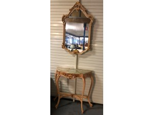 SMALL CONSOLE TABLE & MIRROR MARBLE TOP