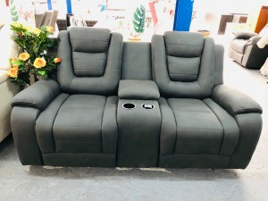 KEMPTON GREY TWO SEATER RECLINER WITH TWO CUP HOLDERS & STORAGE CONSOLE