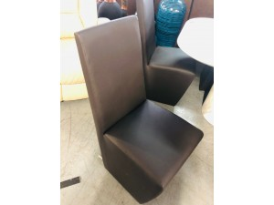 VANESSA 519 BR DINING CHAIRS IN DARK BROWN METAL BACK LEG