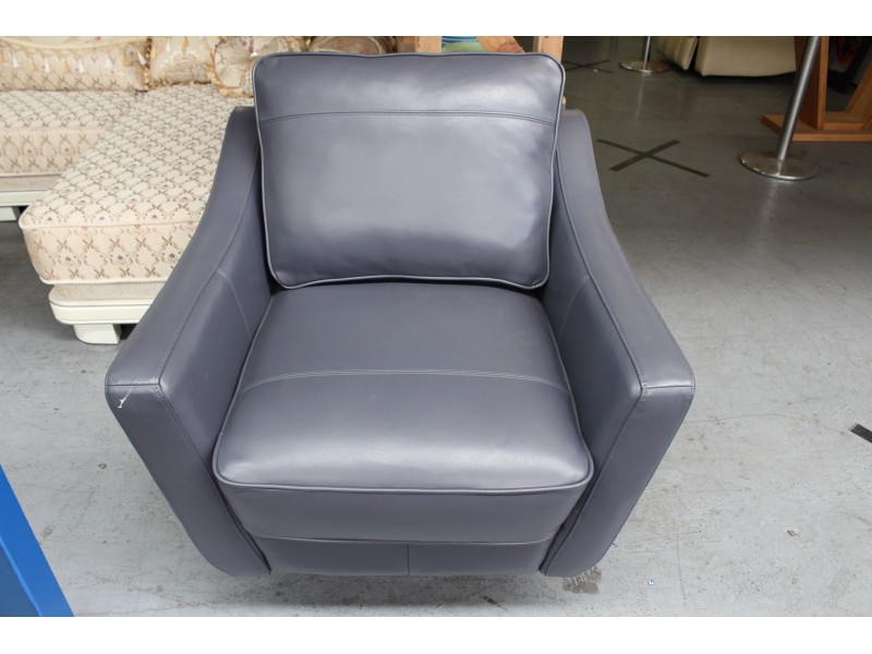 BALTIC LEATHER SWIVEL ARMCHAIR GREY RRP $1500