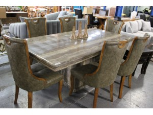 7 PIECE MARBLE DINING SUITE WITH TIMBER CHAIRS